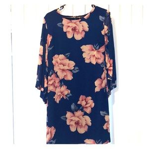 Lulu's blue floral dress with bell sleeves